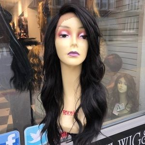 """Black SidePart Lacefront wig """"24"""" inch Long 2020"""